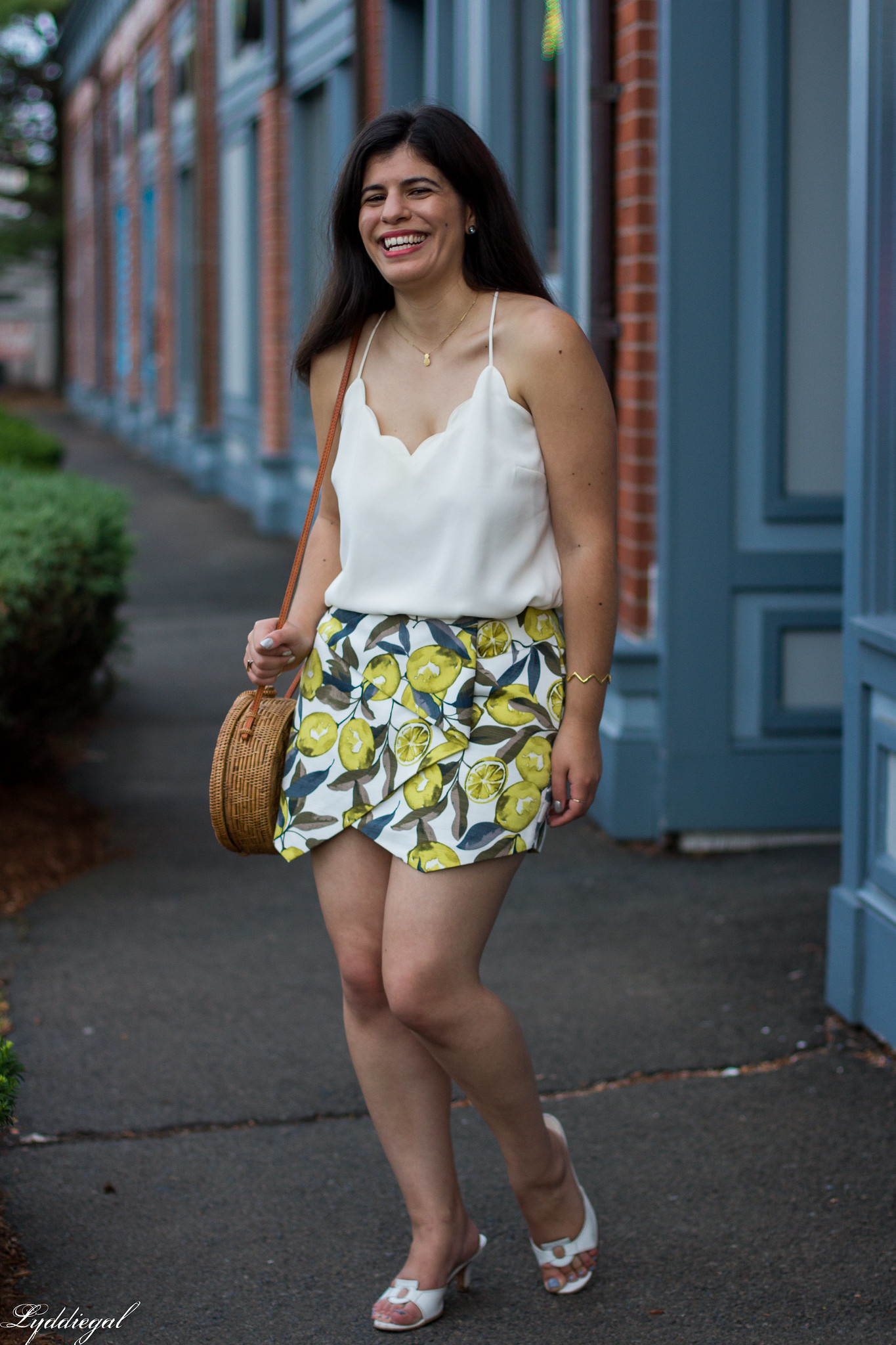 Lemon print skort, scalloped cami, round straw bag, ferragamo slides-2.jpg