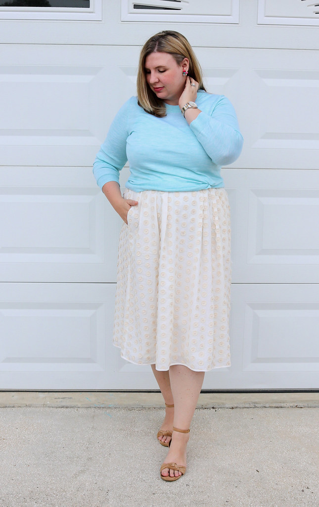 cream dot midi skirt, mint tippi 3