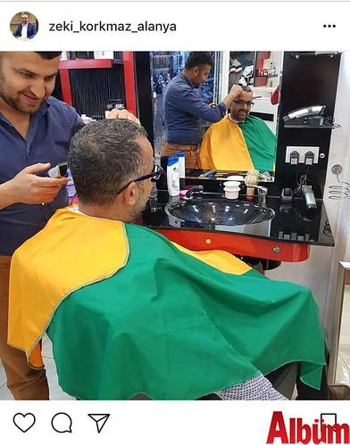 Yalçınlar Otel Ekipmanları Genel Müdürü Zeki Korkmaz, Alanyaspor renkleri taşıyan traş önlüklü fotoğrafı ile herkesi maça davet etti.