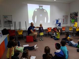 Erich erklärt an Pia die fünf Roboter Befehle