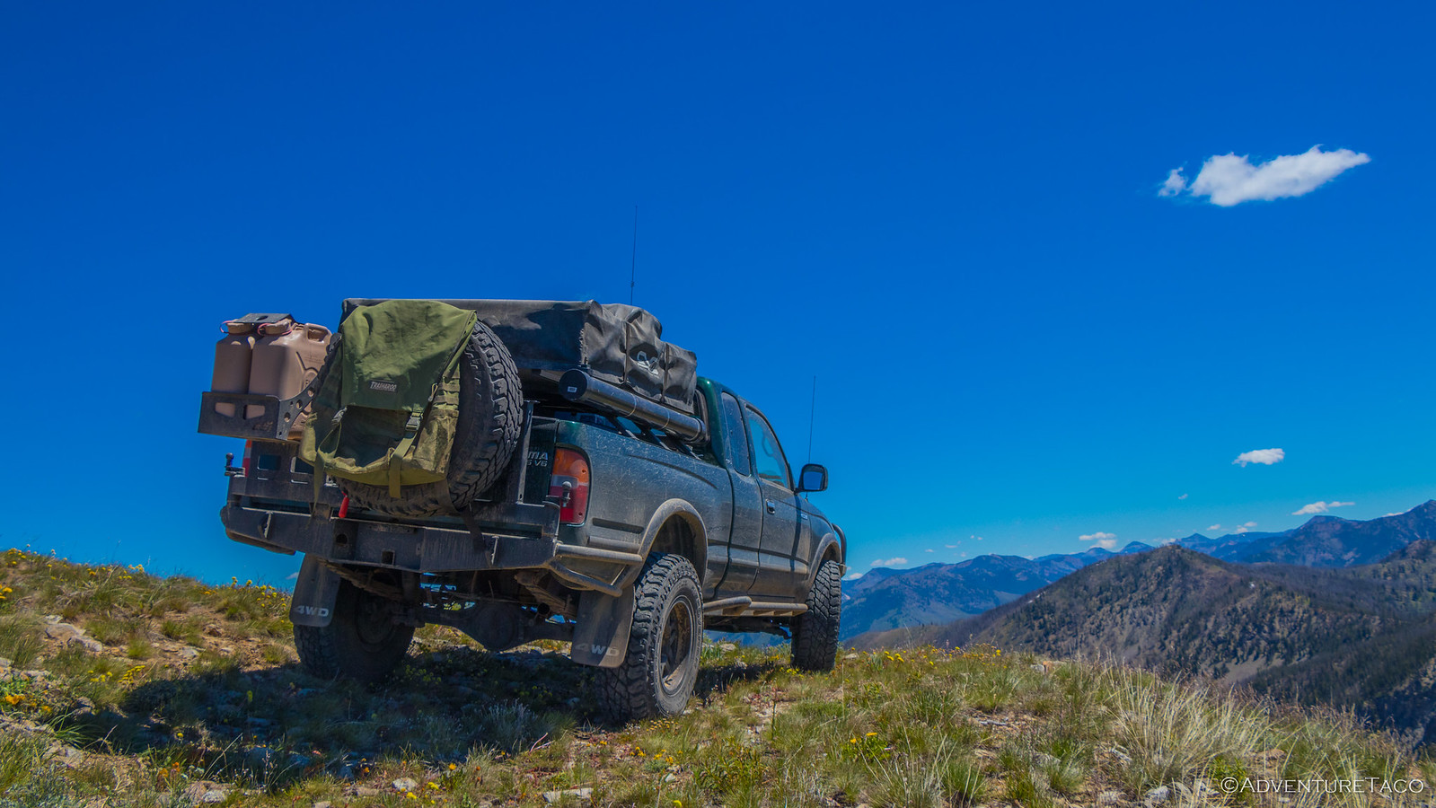 toyota tacoma on top of mountain in idaho