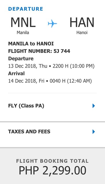 Cebu Pacific Promo Manila to Hanoi December 13, 2018