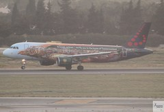 Brussels Airlines A320-214 OO-SNF landing at AGP/LEMG