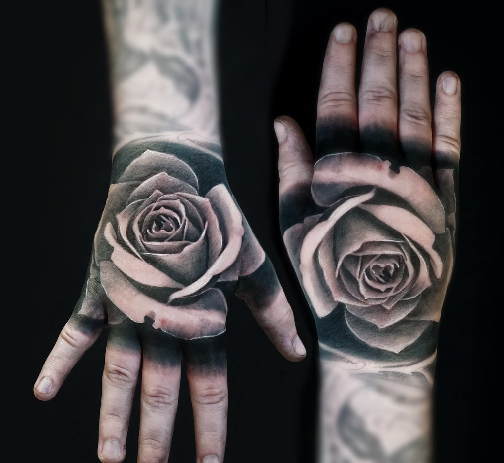Black And Grey Tattoo Realistic Rose On The Hand Alo Loco Tattoo