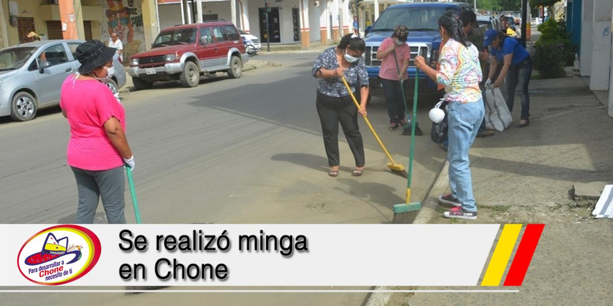 Se realizó minga en Chone