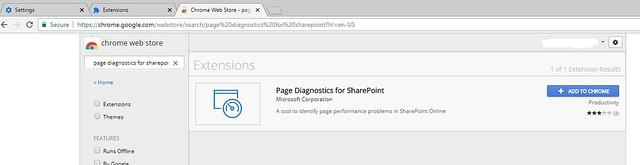 Page diagnostics extension