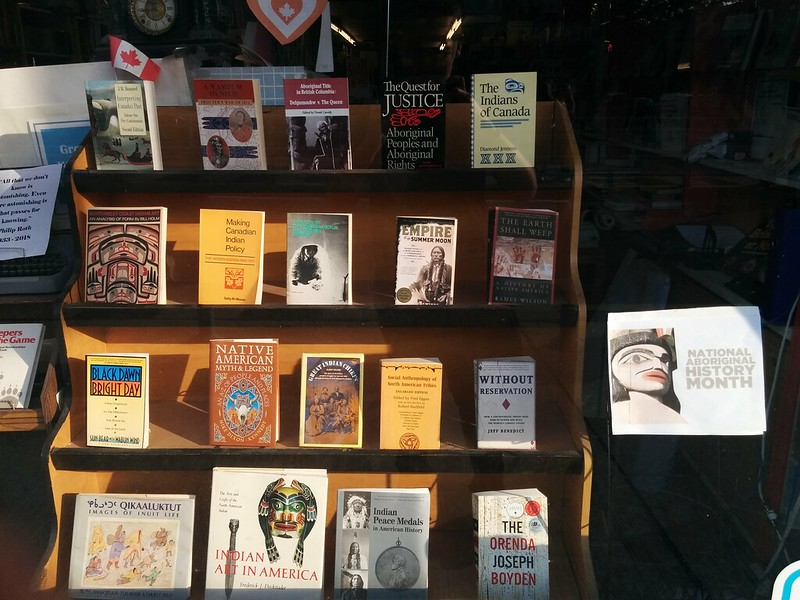 For National Aboriginal History Month #toronto #firstnations #indigenoushistorymonth #stclairwest #stclairavenue #regalheights #books #bookstore #window #display #ayeregobooks