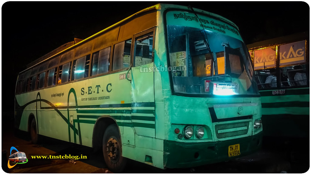 TN01 N 9904 SHN B771 of Sencottah Depot Route 777K Kottarakar Velankanni via Punalur, Sencottah, Tenkasi, Tirunelveli, Thoothukudi, ECR
