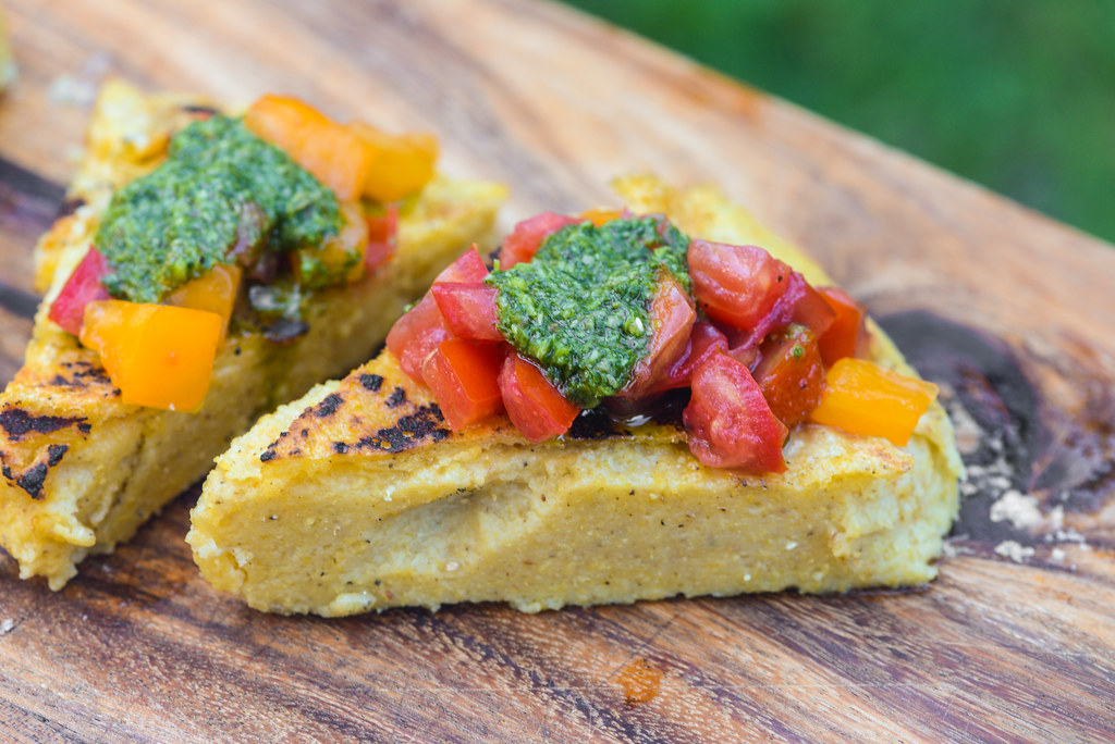 Grilled Polenta with Fresh Tomatoes and Italian Salsa Verde