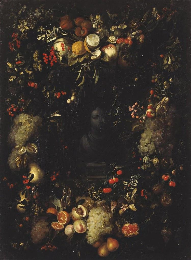 Jan Pauwel Gillemans - Bust of the Virgin Framed with a Garland of Fruit
