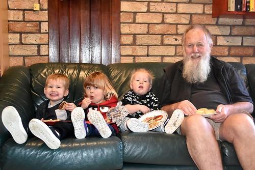 Paul  Weaver enjoying meat pies with three grandsons, Lincoln, Jasper & Tate 12 July 2018