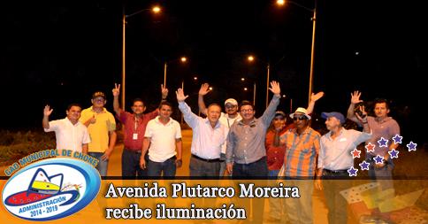 Avenida Plutarco Moreira recibe iluminación