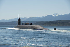PUGET SOUND, Wash. (July 12, 2018) The Ohio-class ballistic missile submarine USS Nebraska (SSBN 739) transits the Hood Canal as it returns home to Naval Base Kitsap-Bangor following the boat's first strategic patrol since 2013. Nebraska recently completed a 41-month engineered refueling overhaul, which will extend the life of the submarine for another 20 years. (U.S. Navy photo by Mass Communication Specialist 1st Class Amanda R. Gray/Released)
