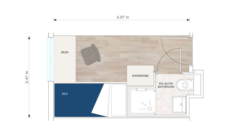 A bedroom floor plan for The Quads