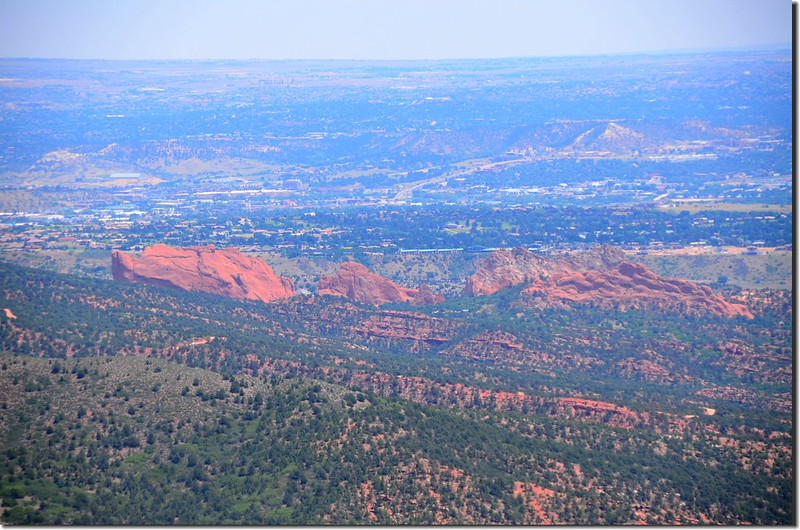 Looking east at Garden of the Gods from Barr Trail