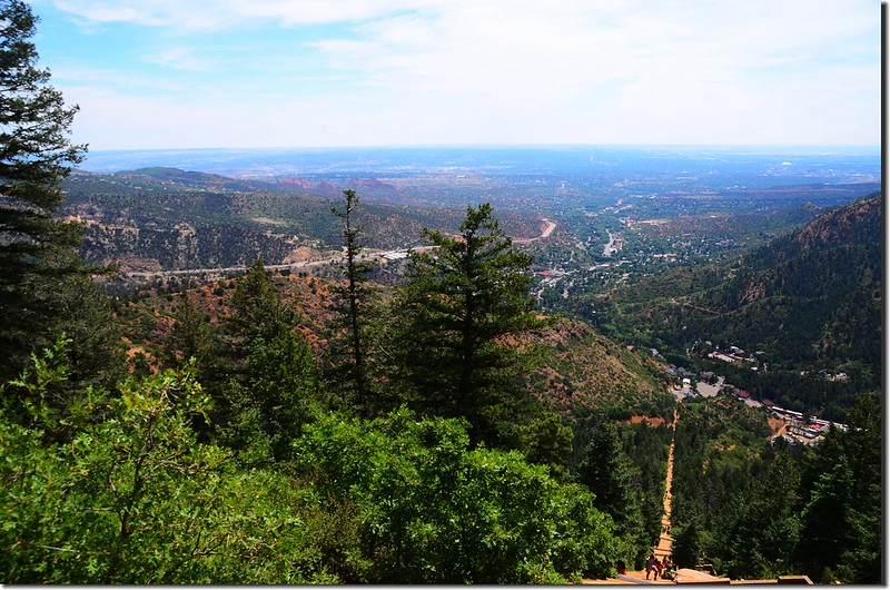 Looking down the Manitou Incline from the trail 3