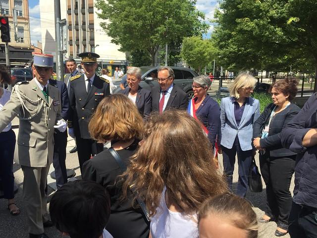 Déplacement à Lyon de Geneviève Darrieussecq, secrétaire d'Etat auprès de la ministre des armées dans le cadre du 75ème anniversaire de l'arrestation de Jean Moulin