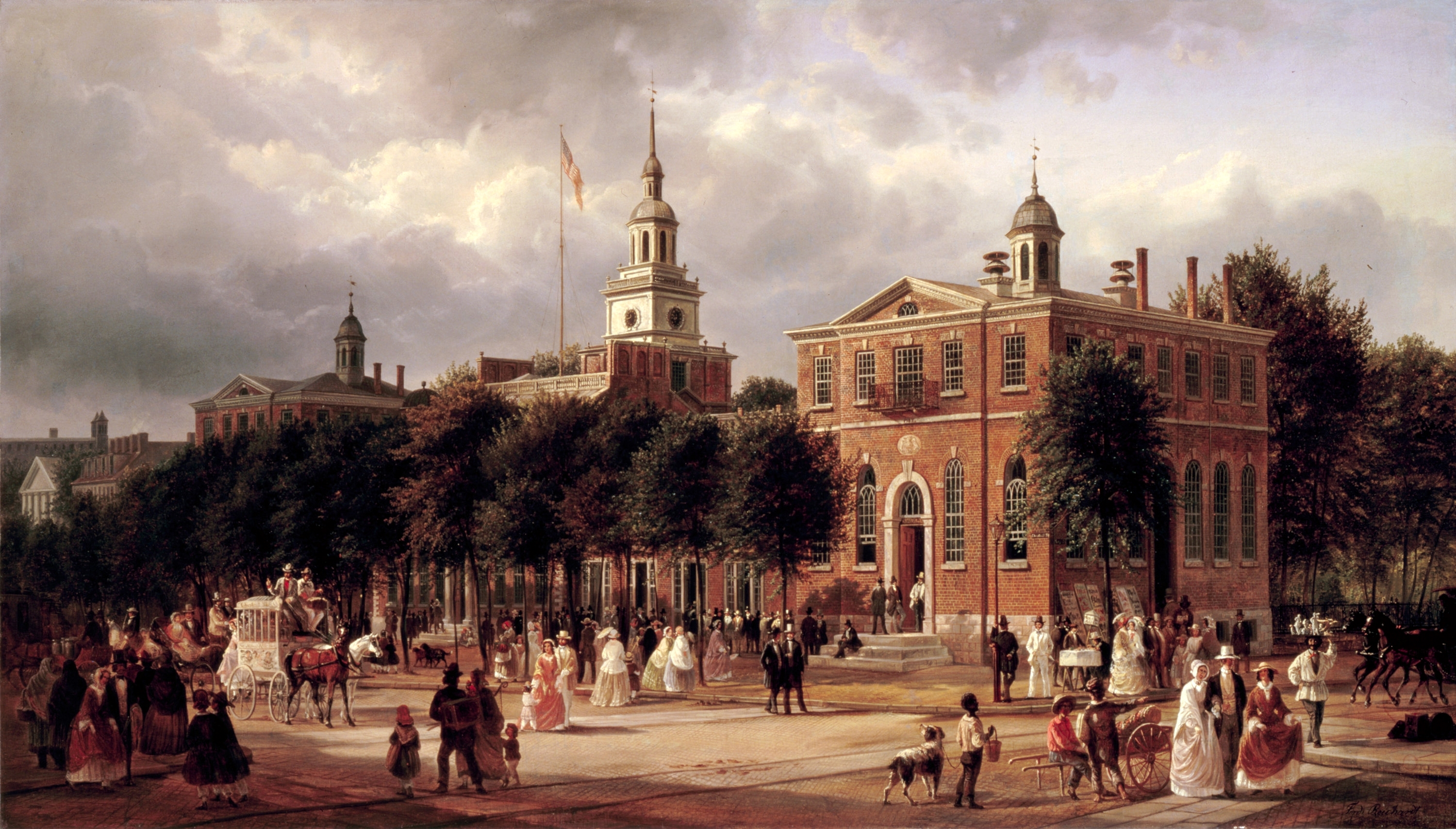 Independence Hall in Philadelphia, oil on canvas by Joachim Ferdinand Richardt, circa 1858-1863. The original is currently displayed at the White House in Washington, D.C., a gift of Mr. and Mrs. Joseph Levine in memory of President John F. Kennedy. Notes by Kloss, William, et al. Art in the White House: A Nation's Pride. Washington, D.C.: The White House Historical Association, 2008: