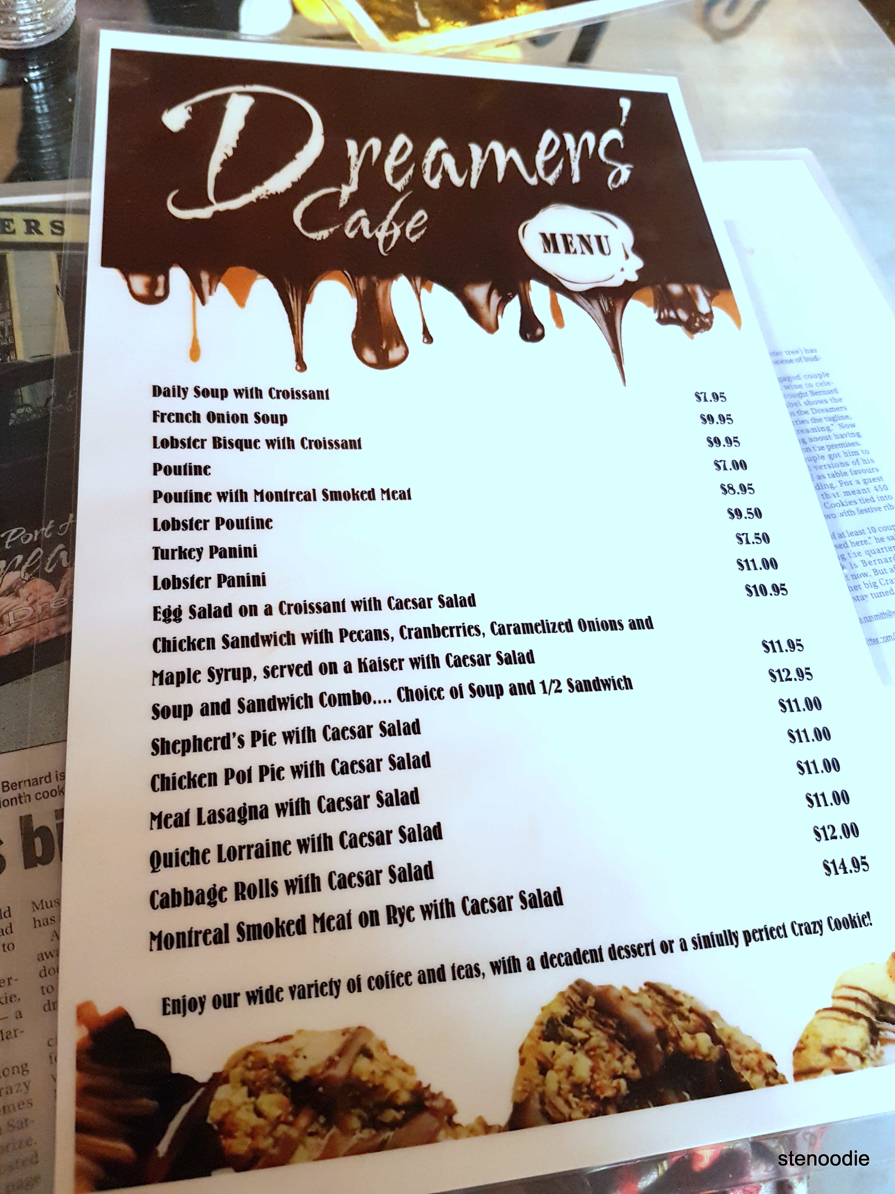 Dreamers' Cafe lunch menu and prices