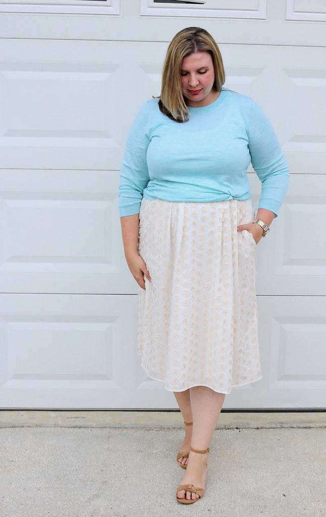 cream dot midi skirt, mint tippi 7