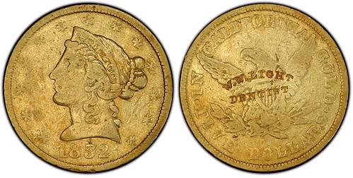 Counterstamped 1852 Wass Molitor $5