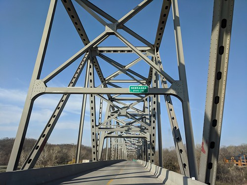 Entering Nebraska over a really cool bridge.