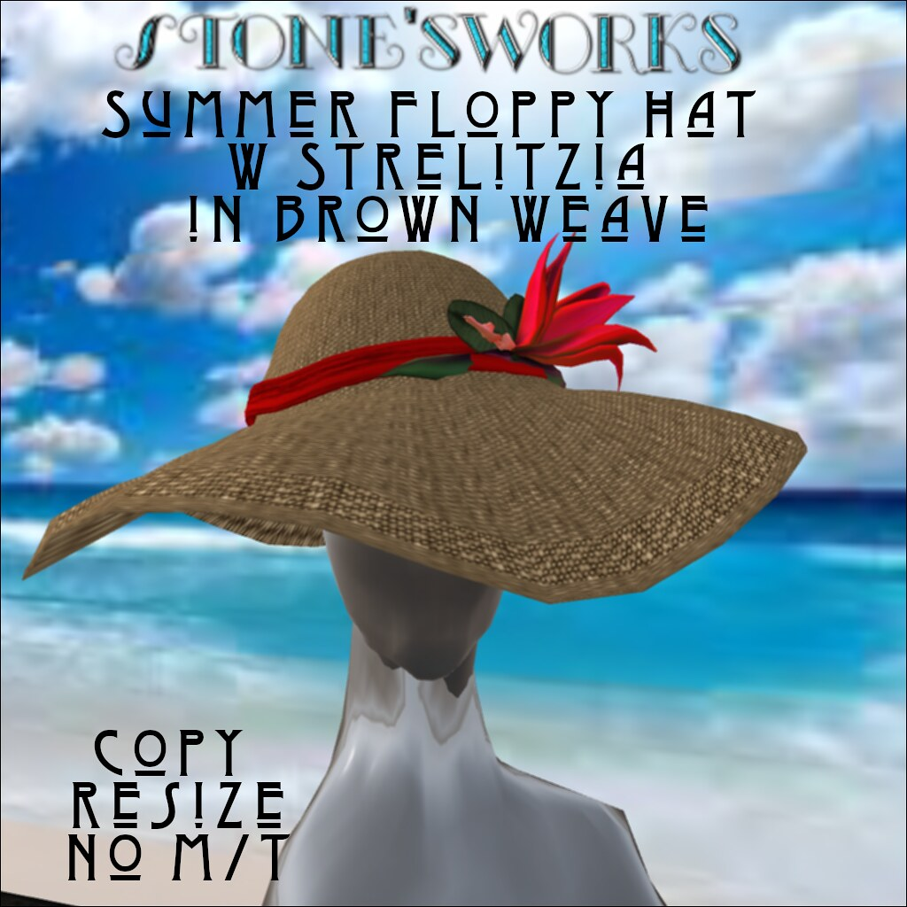 Summer Floppy Hat in Brn Wv Strelitzia Stone's Works