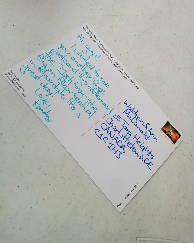 Drafting a postcard (2) #toronto #bloordale #bloorstreetwest #bigonbloor #streetfestival #postcard #latergram