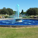 Fountain dyed blue to mark NHS 70 years.