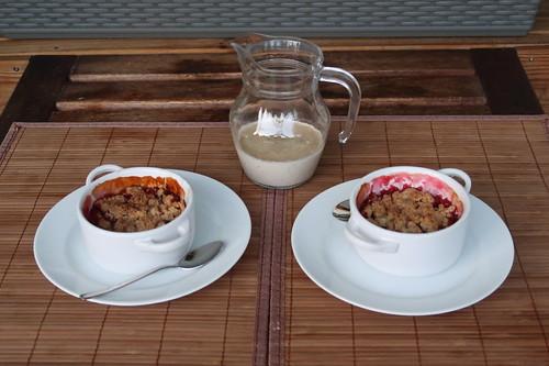 Stachelbeer-Crumble mit Vanillesoße (für 2 Personen)
