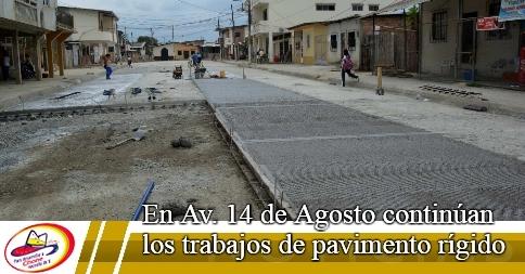 En Av. 14 de Agosto continúan los trabajos de pavimento rígido
