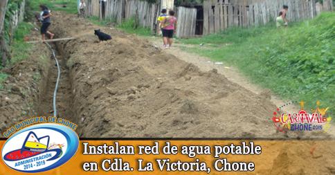 Instalan red de agua potable en Cdla. La Victoria, Chone