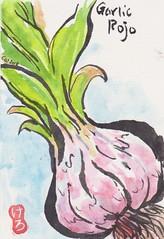 Etegami garlic postcard