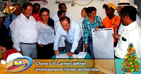 Chone y El Carmen definen amistosamente límites territoriales