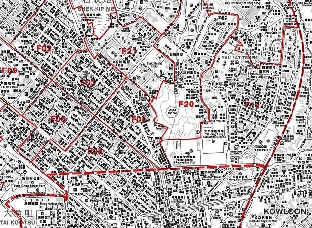 這是2003年深水埗區議會的選區劃界,當時南昌東(F04)以大埔道一帶的私樓為主