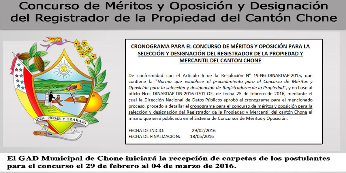 Cronograma concurso Mérito y Oposición, Registrador de la Propiedad Chone