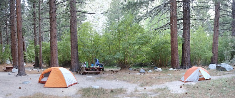 We set up camp in the old Walk-In Campground about a mile in on the North Fork Big Pine Creek Trail