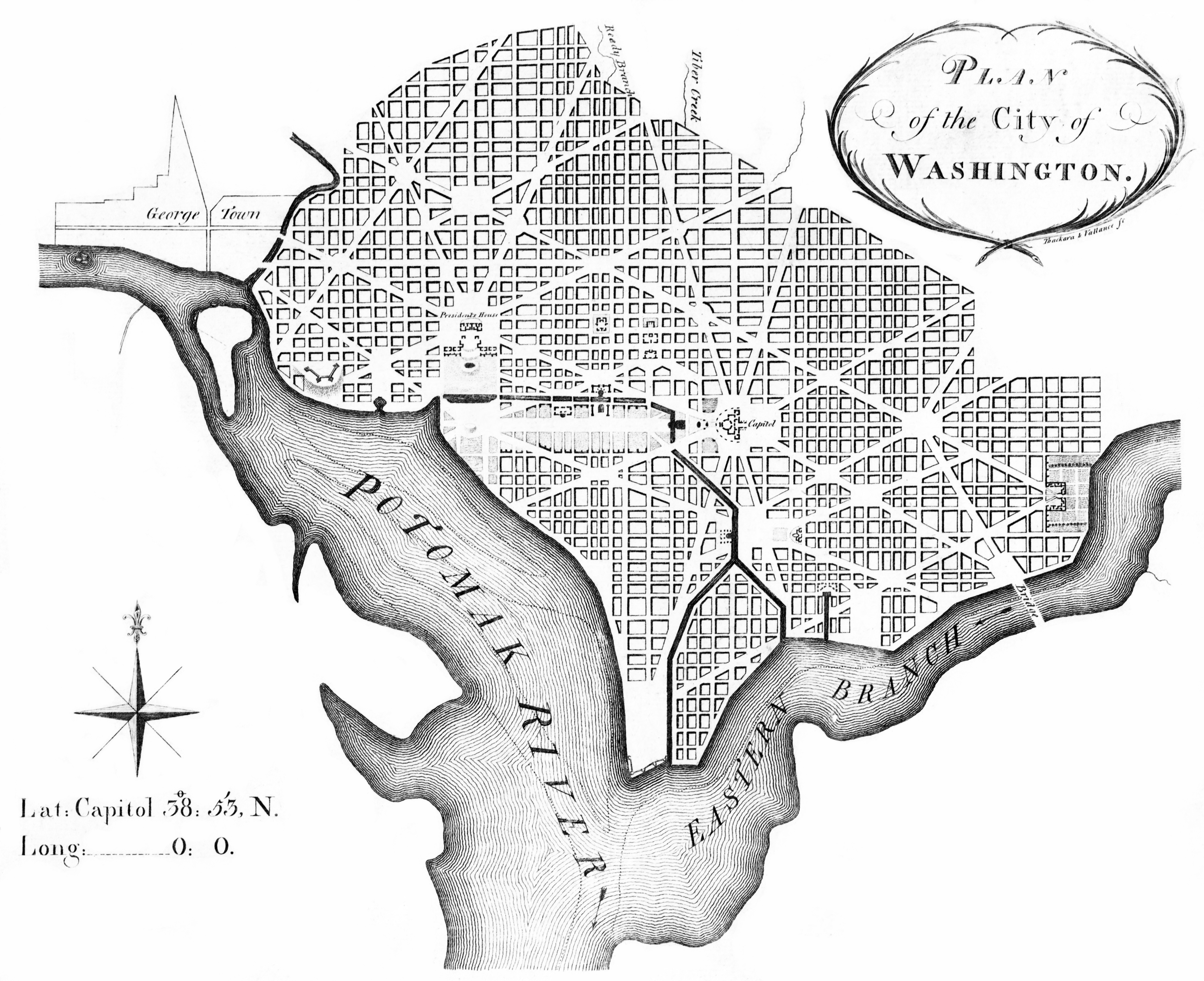 Plan of the City of Washington, March 1792, Engraving on paper, Andrew Ellicott, revised from Pierre (Peter) Charles L'Enfant; Thackara & Vallance sc., Philadelphia, March 1792