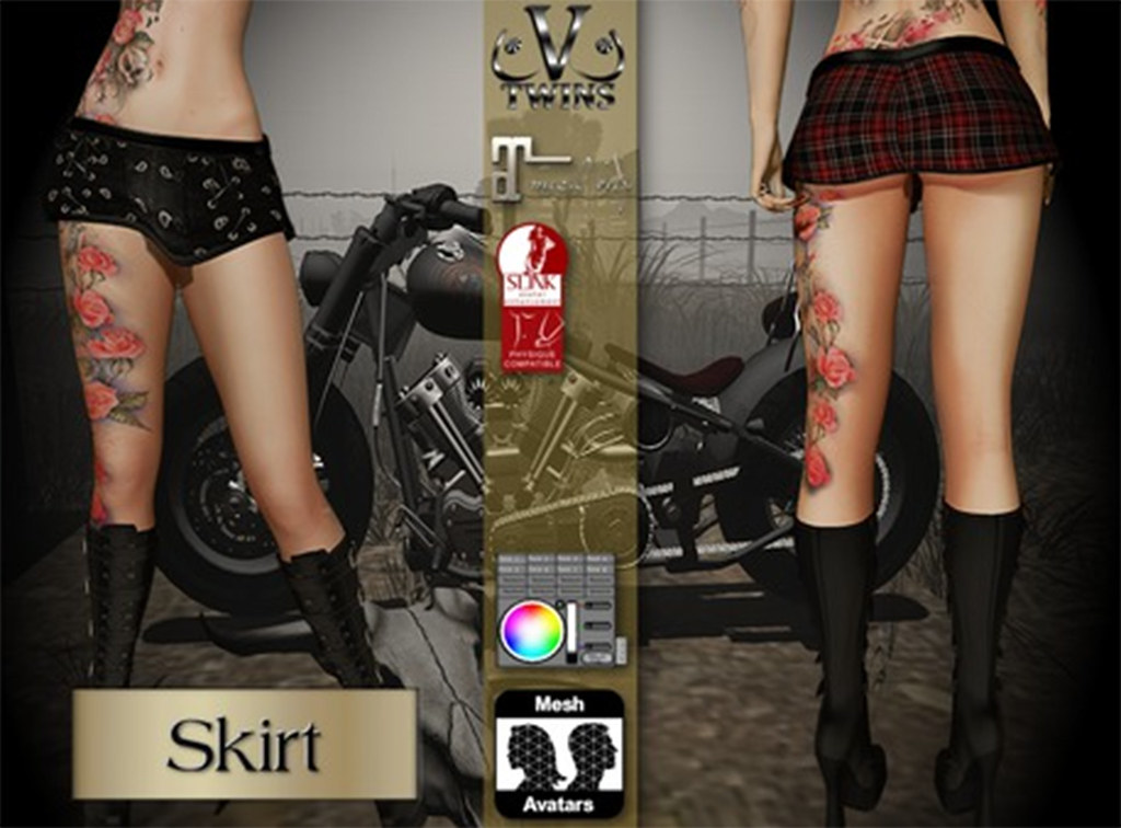 V-Twins Biker Clothes – Individual Items Mesh Skirt – Chaotic Biker Version (Slink, fitMesh & Maitreya)