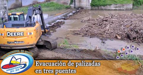 Evacuación de palizadas en tres puentes