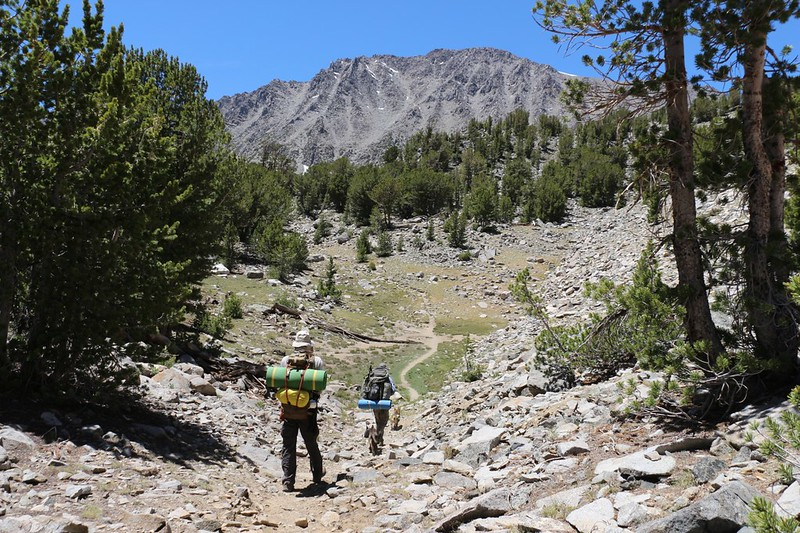 Yet another high, dry meadow as the trail heads to Sixth Lake - Cloudripper is in front of us