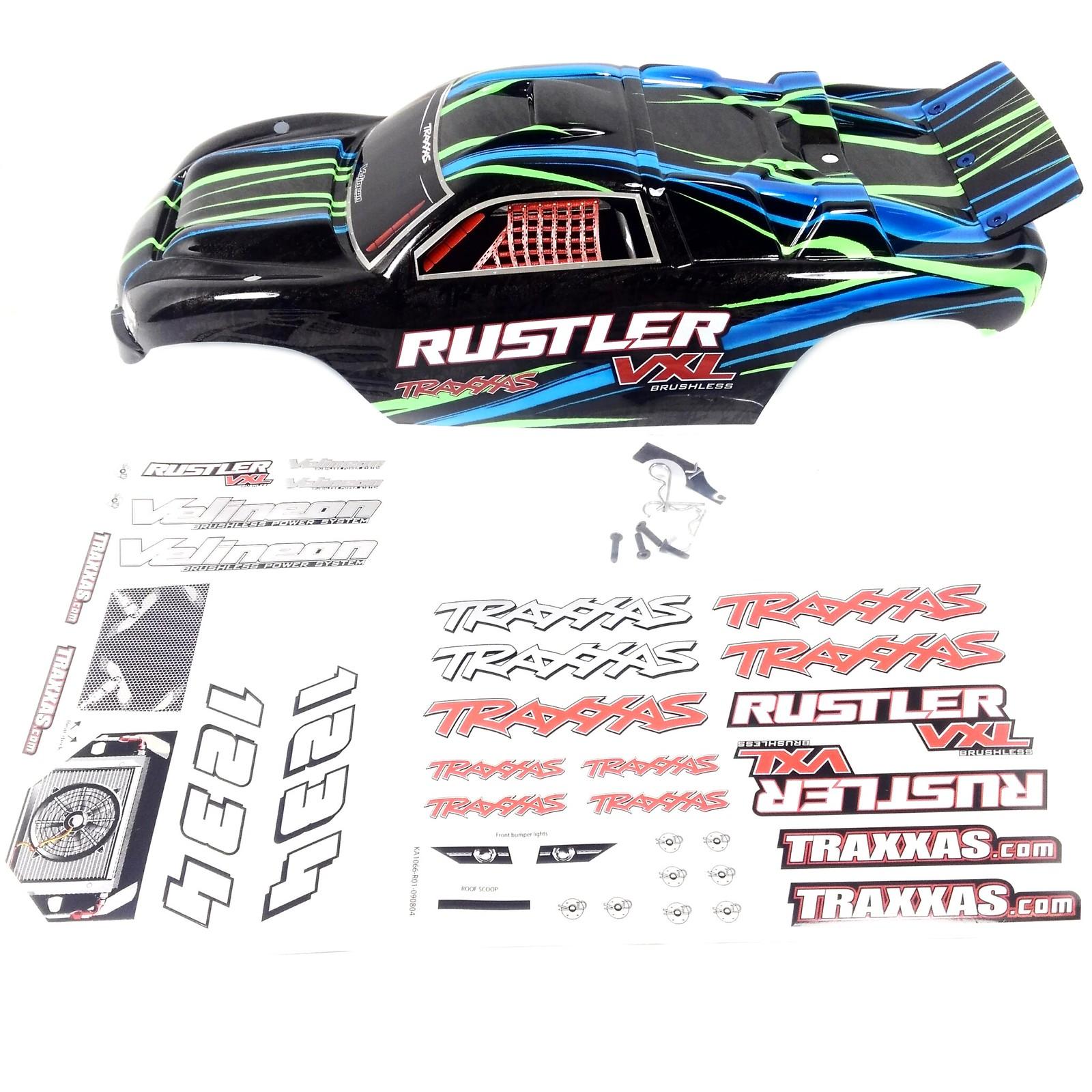 Traxxas Rustler Body Vxl Xl5 Green Blue Black W Decals And 41354173020 1eceda8c2a H