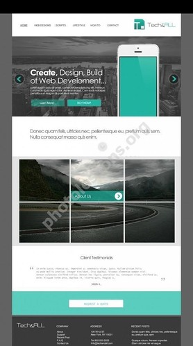 Teal Simple website template in PSD format for Photoshop