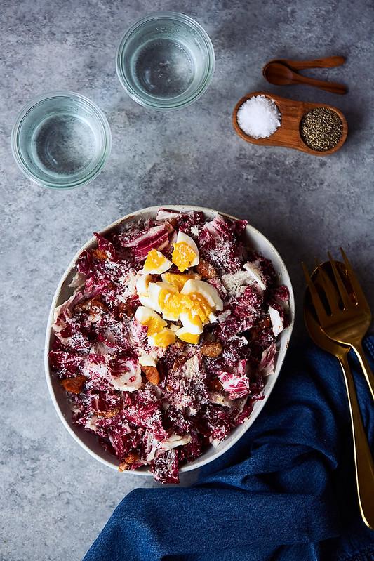 Radicchio Salad with Bacon Lardons, Manchego & Six Minute Egg {Gluten-free, Keto}