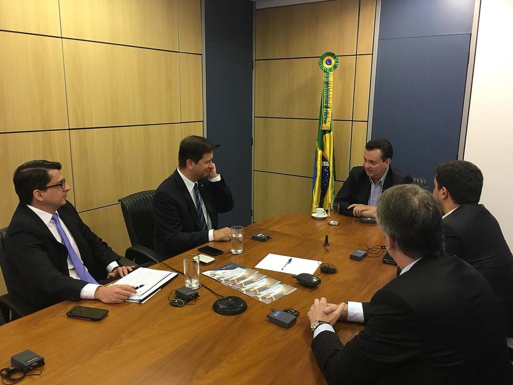 Ministro Gilberto Kassab durante reunião com o CEO Global e membro do Conselho Executivo da SAP, Luka Mucic e com o CEO do Grupo SAP, Afonso Lamounier. São Paulo-SP. 03/07/2018. Fotos: ASCOM/MCTIC.
