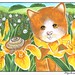 Orange marmelade cat with snail and iris