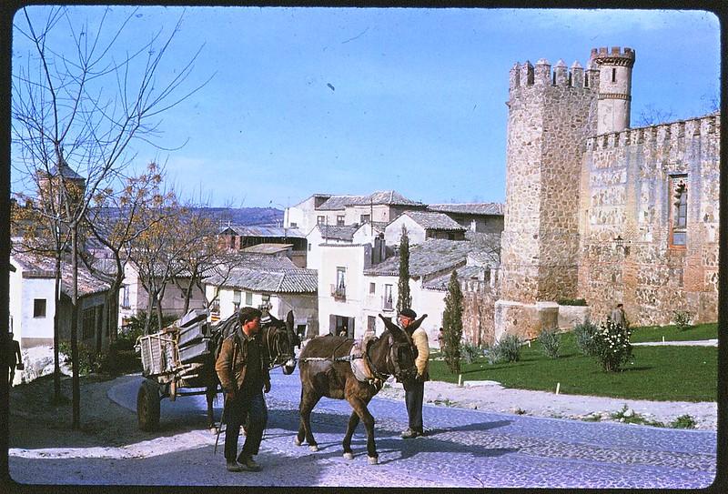Burros en el Palacio de los condes de Maqueda en Toledo en abril de 1963. Película Kodachrome. Donación de la familia Burgos.