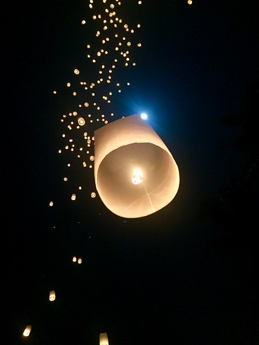 Sky lanterns at Borobudur