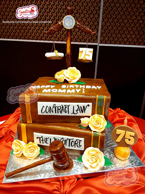 Lawyer Themed-Chocolate Fondant Cake with All-Edible Hand-Painted Toppers and Designs. By Shiela Curitao of Sweets - Cakes & Pastries