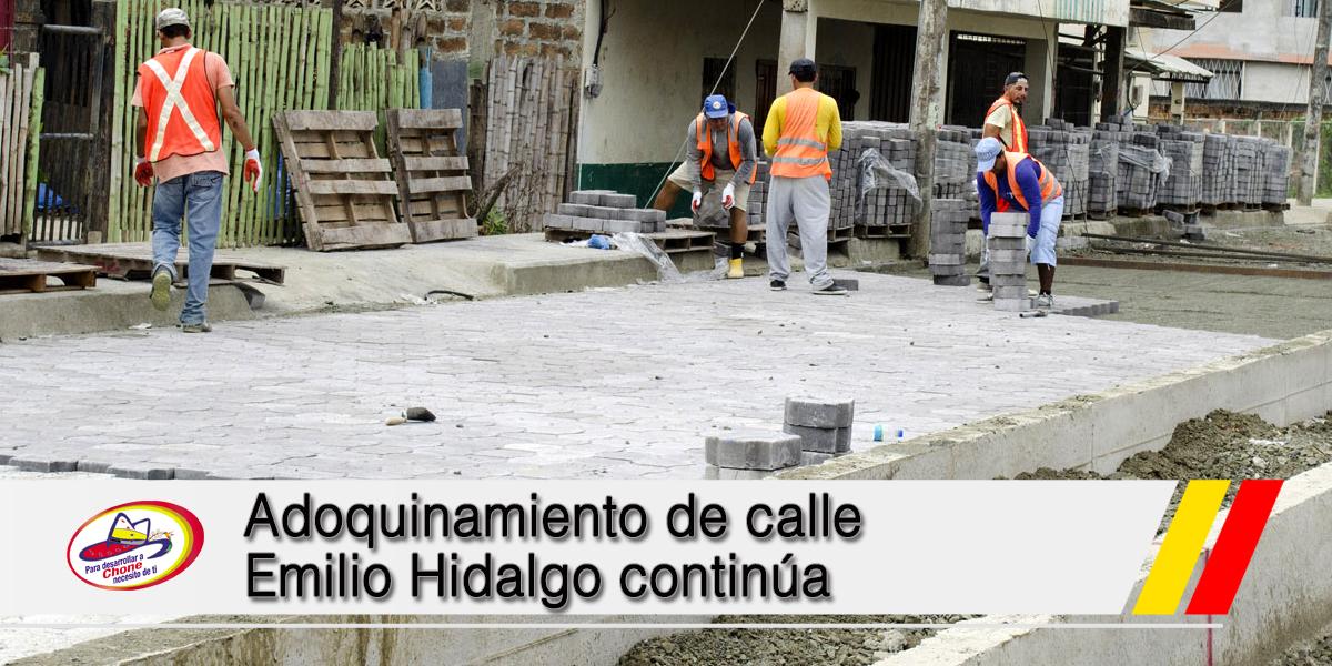 Adoquinamiento de calle Emilio Hidalgo continúa